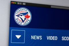 Baseball team Toronto Blue Jays website homepage. Close up of team logo. Miami / USA - 04.20.2019: Baseball team Toronto Blue Jays website homepage. Close up of stock photos