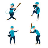 Baseball team: two batters, pitcher and catcher. Flat vector illustration. Cartoon style Royalty Free Stock Photos