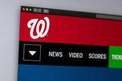 Baseball team Washington Nationals website homepage. Close up of team logo. Miami / USA - 04.20.2019: Baseball team Washington Nationals website homepage. Close royalty free stock photos