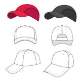 Baseball, tennis cap outlined template. Baseball, tennis cap vector illustration featured front, back, side, top, bottom  on white Stock Photos