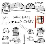 Baseball, tennis, rap cap chav set. Baseball, tennis, rap cap outlined oil pastel template sketch front, back and side views and man head, vector illustration Royalty Free Stock Photography