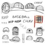 Baseball, tennis, rap cap chav set Stock Image