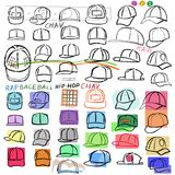 Baseball, tennis, rap cap chav set. Baseball, tennis, rap cap outlined oil pastel template sketch front view and man head, vector illustration isolated on white Stock Images
