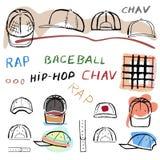 Baseball, tennis, rap cap chav set. Baseball, tennis, rap cap outlined oil pastel template sketch front, back and side views and man head, vector illustration Stock Photo