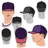 Baseball, tennis, rap cap and man head. Baseball, tennis, rap cap outlined oil pastel template sketch front, back and side views and man head, vector Stock Photo