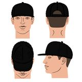 Baseball, tennis, rap cap and man head. Baseball, tennis, rap cap outlined oil pastel template sketch front, back and side views and man head, vector Stock Photos