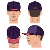 Baseball, tennis, rap cap and man head. Baseball, tennis, rap cap outlined oil pastel template sketch front, back and side views and man head, vector Stock Image