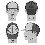Baseball, tennis, rap cap and man head. Baseball, tennis, rap cap outlined oil pastel template sketch front, back and side views and man head, vector Royalty Free Stock Images