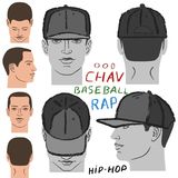 Baseball, tennis, rap cap and man head Stock Photo