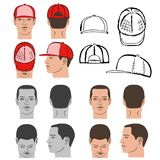 Baseball, tennis, rap cap and man head set. Baseball, tennis, rap cap outlined oil pastel template sketch collection front, back and side views and man head Royalty Free Stock Image