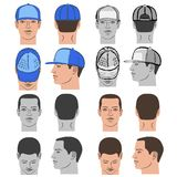 Baseball, tennis, rap cap and man head set. Baseball, tennis, rap cap outlined oil pastel template sketch collection front, back and side views and man head Royalty Free Stock Photo