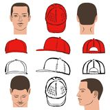 Baseball, tennis, rap cap and man head. Baseball, tennis, rap cap outlined oil pastel template sketch front, back and side views and man head, vector Royalty Free Stock Image