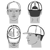 Baseball, tennis, rap cap and man head. Baseball, tennis, rap cap outlined oil pastel template sketch front, back and side views and man head, vector Royalty Free Stock Photos