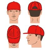 Baseball, tennis, rap cap and man head. Baseball, tennis, rap cap outlined oil pastel template sketch front, back and side views and man head, vector Royalty Free Stock Photo