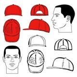 Baseball, tennis, rap cap and man head Royalty Free Stock Photography