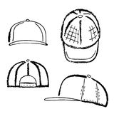 Baseball, tennis, rap cap outlined template. Baseball, tennis, rap cap outlined oil pastel template sketch front, back and side views, vector illustration Stock Photography
