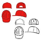 Baseball, tennis, rap cap outlined template Royalty Free Stock Photos