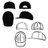 Baseball, tennis, rap cap outlined template. Baseball, tennis, rap cap outlined oil pastel template sketch front, back and side views, vector illustration Royalty Free Stock Photos