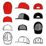 Baseball, tennis, rap cap outlined template. Baseball, tennis, rap cap outlined oil pastel template sketch front, back and side views, vector illustration Royalty Free Stock Image
