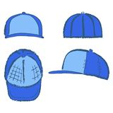 Baseball, tennis, rap cap outlined template. Baseball, tennis, rap cap outlined oil pastel template sketch front, back and side views, vector illustration Stock Photos