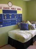 Baseball-themenorientiertes Schlafzimmer Stockbild