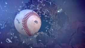 Baseball till och med brutet exponeringsglas Royaltyfri Foto