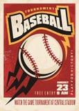 Baseball tournament retro poster design Royalty Free Stock Photography