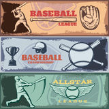 Baseball Tournaments Horizontal Banners Set. With batters sports outfit trophy on grunge style background isolated vector illustration Royalty Free Stock Photos