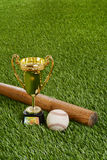 Baseball trophy with bat and hard ball Stock Photography