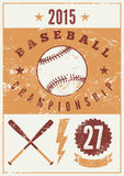 Baseball typographical vintage grunge style poster. Retro vector illustration. Stock Images