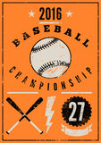 Baseball typographical vintage grunge style poster. Retro vector illustration. Royalty Free Stock Images