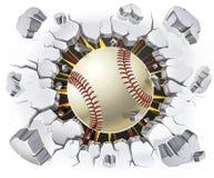 Baseball und alter Gipswandschaden. lizenzfreie abbildung