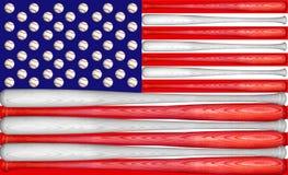 Baseball US Flag. US Flag made with baseball bats and balls Stock Image