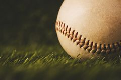 Baseball used put on green grass background. Stock Photography