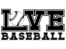 Baseball. Vector black and white inscription love baseball. Design for tattoo or print t-shirt royalty free illustration