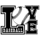 Baseball. Vector black and white inscription love baseball. Design for tattoo or print t-shirt stock illustration