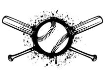 Baseball 1. Vector illustration crossed baseball bats and ball on grunge background. For tattoo or t-shirt design stock illustration