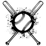Baseball 2. Vector illustration crossed baseball bats and ball on grunge background. For tattoo or t-shirt design stock illustration