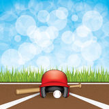 Baseball. Vector illustration of baseball helmet, wooden bats and ball vector illustration