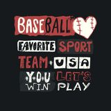 Baseball vector illustration for USA. Sketch lettering, favorite sport, you win, team, grunge, print design for clothing, sports m. Baseball vector illustration vector illustration