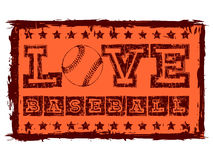 Baseball. Vector orange inscription love baseball with stars in grunge frame. Design for tattoo or print t-shirt royalty free illustration