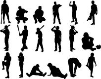 Baseball Vector Silhouettes Royalty Free Stock Photo