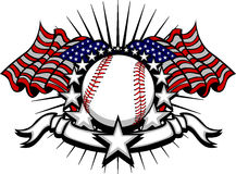 Baseball Vector Template with Flags and Stars. Stars and Stripes Patriotic baseball image with American Flags royalty free illustration