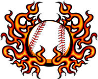 Baseball Vector Template with Flames. Graphic baseball image with flames Royalty Free Stock Image