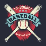 Baseball vintage grunge poster with shield, stars, crossed bats and ball Stock Photos