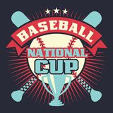 Baseball vintage poster with cup, stars, crossed bats and ball Stock Photography