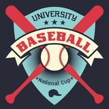 Baseball vintage poster with shield, stars, crossed bats and ball Royalty Free Stock Photography