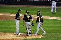 Baseball - visit to the mound Stock Image