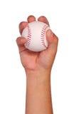 Baseball w ręce odizolowywającej na bielu Obraz Royalty Free