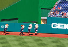 Baseball - Washington Nationals Mascot Race. A view of the President mascots of the Major League Baseball Washington Nationals, on a beautiful blue sky day in Stock Photos